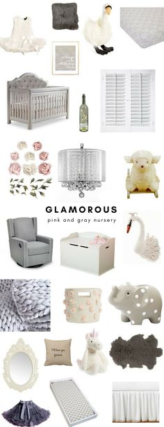 Glamorous pink and gray nursery • Baby girl nursery in gray, white and pink tones featuring peony wall decals, swan decor, a tufted crib and blush Pottery Barn Kids canopy • Floral nursery • Swan-themed nursery • Baby girl nursery inspiration • Nursery with white wainscoting • Chandeliers and Champagne