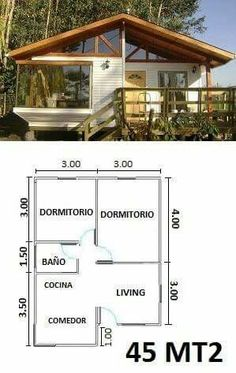 Casa modelo My House 2 Bedroom House Plans, Cabin House Plans, Tiny House Cabin, Small House Plans, House Floor Plans, Bamboo House, Cabins And Cottages, Small House Design, Home Design Plans