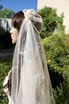 BRIDAL CAP Veil  KATE Moss inspired , Elaborate Lace Bridal Caps Veils by LasVegasVeils. $150.00, via Etsy.