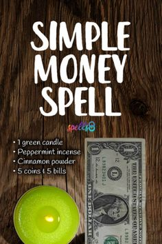 'Riches Pledge': A Simple Money Spell with a Green Candle Powerful Money Spells, Money Spells That Work, Spells That Really Work, Easy Spells, Luck Spells, Magic Spells, Wiccan Spells, Witchcraft, Candle Magic