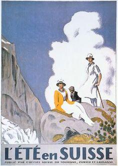 """illustration : affiche de tourisme, Emil Cardinaux, """"L'été en Suisse"""", 1921"""