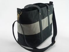 Large Waxed Canvas Weekend Travel Bag  in Black and by MioMode, $95.00