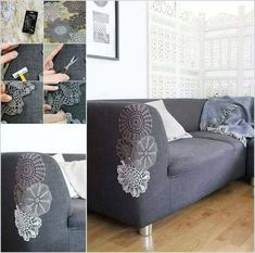Patch couch with doilies and lace - great idea for sprucing up my worn chair!