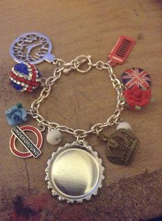 English Themed Bottle Cap Charm Bracelet You decide by PopcapPoppy