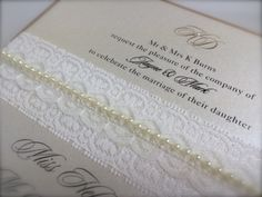 Lace and pearl formal invitation from www.whitelacestationery.co.uk