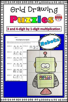 These grid drawings are a fun and creative way for your kids to practice their multiplication skills! Kids simply find the box that corresponds with the correct multiplication answer and transfer it into the square on the blank grid. Each page leads to a different picture of a robot to color.  This set includes three pages of 3-digit by 1-digit practice, and three pages of 4-digit by 1-digit practice. Multiplication Grid, Multiplication Activities, Math Worksheets, Math Resources, 5th Grade Math, Second Grade, Kinesthetic Learning, Love Teacher, Classroom Fun