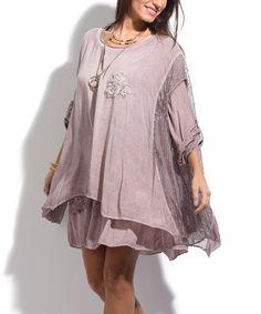 9d7e88a72511 La Fille du Couturier Old Rose Floral-Accent Layered Shift Dress Too - Plus