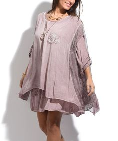 Look what I found on #zulily! Old Rose Floral-Accent Layered Shift Dress - Plus Too #zulilyfinds