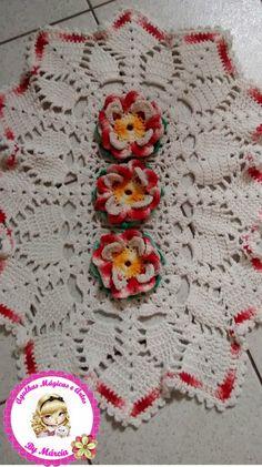 agulhas magicas e artes: Tapete Flores de Crochê - Meus trabalhos