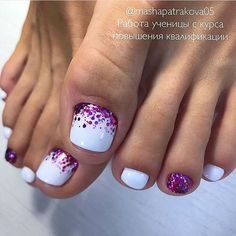 Elegant Pedicure In White Colors. White shades is popular color forever. The most important thing is that white color can easily fit in any style or occasion. Now we present to your attention white toe nail color amazing designs to try out. Toe Nails White, Purple Toe Nails, Gel Toe Nails, Acrylic Toe Nails, Pretty Toe Nails, Summer Toe Nails, Cute Toe Nails, Toe Nail Art, Gorgeous Nails