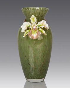 Orchid Vase & Jay Strongwater Design at Horchow. Orchid Vase, Flower Vases, Orchids, Jay Strongwater, Lamp Makeover, Egg Designs, Porcelain Vase, Cold Porcelain, Bottle Design