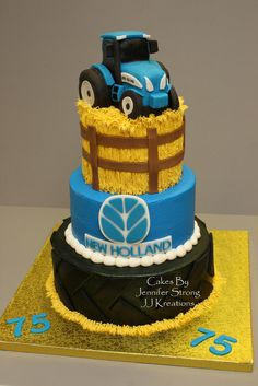New Holland Tractor - by JenStrong @ CakesDecor.com - cake decorating website