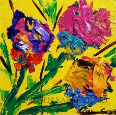 """Bright Flowers  $45 Acrylic on 8x8x1.5"""" gallery wrapped canvas.   The edges  are painted, so no framing is needed.  The painting is sealed with a light coat of varnish for protection and is ready to hang. Sargent Art, Bright Flowers, Wrapped Canvas, Pop Art, Ink, Gallery, Coat, Painting, Glitter Flowers"""