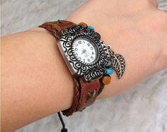 Leather bracelet watch leaf pendant lady watch retro jewelry bracelet hand-woven