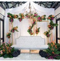Wedding Ceremony Backdrop Stage Draping Ideas For 2019 Wedding Ceremony Backdrop, Wedding Stage, Dream Wedding, Bohemian Wedding Decorations, Persian Wedding, Wedding Mood Board, Wedding Background, Backdrops, Tropical