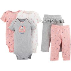 Child of Mine by Carter's Newborn Baby Girl Bodysuit and Pants 5-Piece Set