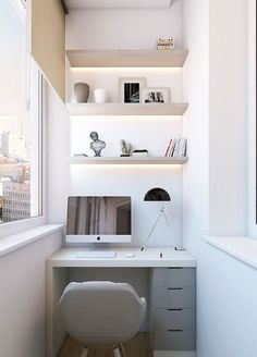 Stylish Apartment Balcony Decorating Ideas On A Budget 08 Home Office Space, Home Office Design, Home Office Decor, Small Office, Office Table, Tiny Home Office, Office Lounge, Office Designs, Apartment Balcony Decorating