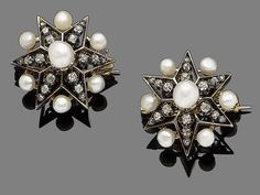 Two pearl and diamond brooches/hair pins, circa 1900  The two six-ray star brooches/hair pins set with 4.5-6.9mm pearls, with old brilliant and rose-cut diamond accents