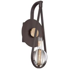 """Quoizel Uptown Seaport 15"""" High Bronze Wall Sconce $149.99 4 1/2"""" wide. 15"""" high. Extends 5"""" from the wall. Wall plate is 6 1/2"""" wide. Height from center of wall opening is 7""""."""