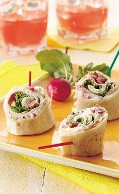 Turkey Club Tortilla Roll-Ups.  I like that these are sliced at an angle. Makes a much prettier presentation than the usual sliced roll up trays.