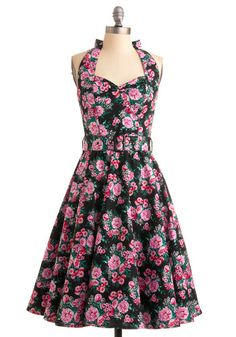 Enchanted Afternoon Dress in Mums - Green, Floral, A-line, Halter, 50s, Spring, Summer, Multi, Pink, Black, White, Show On Featured Sale, Rockabilly, Pinup, Mid-length, Fit & Flare, Belted, Cotton, Daytime Party, Best Seller, Sweetheart