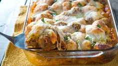Meatball Sub Bubble-Up Bake - Why, hello hearty dinner! Go mad for meatballs with this satisfying supper that has only - wait for it - SIX ingredients.
