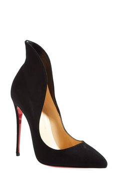 Free shipping and returns on Christian Louboutin 'Mea Culpa' Flared Pointy Toe Pump at Nordstrom.com. <p><B STYLE=COLOR:#990000>Pre-order this style today! Add to Shopping Bag to view approximate ship date. You'll be charged only when your item ships.</b></p><br>Christian Louboutin's iconic sole was born from a fateful brush with red nail lacquer. This time, the recognizable hue pops beneath the exquisite stiletto silhouette of a pointy-toe pump that epitomizes va-va-voom. The flared ....