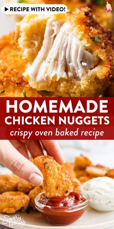 These Healthy Baked Chicken Nuggets are easy to make with just a handful of ingredients. They turn out crispy and delicious - the best kid-friendly recipe! Homemade Chicken Nuggets, Baked Chicken Nuggets, Healthy Baked Chicken, Lunch Recipes, Dinner Recipes, Healthy Recipes, Easy Recipes, Cooking Recipes, Healthy Meals For Kids