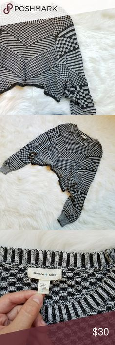 Urban Outfitters Silence + Noise Crop Sweater Adorable cropped sweater with handkerchief hem and geometric knit ❤ no holes or stains perfect with skinny jeans or cords. silence + noise Sweaters Crew & Scoop Necks