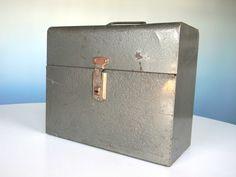 Metal Industrial Box Storage Lunch Tool Lock File Original Key