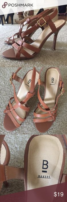 Brown High Heel Sandals Cute sandals with strappy design. Stiletto type heel. Tan/light brown, solid leather with gold buckle detail. Very cute and neutral color that allows for it to be worn with a number of outfits! Bakers Shoes Heels