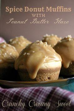 Spice Donut Muffins with Peanut Butter Glaze crunchycreamysweet.com
