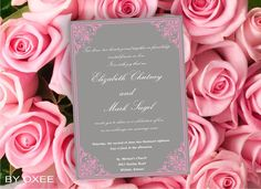 Printable Wedding invitation template Pink on grey by Oxee on Etsy, $5.00