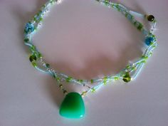 Multistrand green necklace