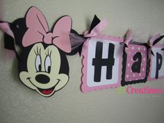 Minnie Mouse Birthday Banner in Pink by 21Creations on Etsy