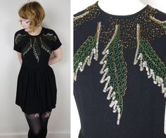 40s black BEADED short dress EMBELLISHED with by SartorialMatters