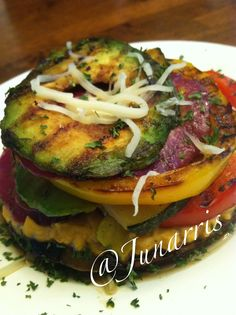 My Lunch was Marinated Red Onion, Bell Peppers, Avocados, Zucchini and Portabella Mushroom.  Place on Grill, Spread Mushroom with thin layer of Hummus(I chose Roasted Red Pepper) and layer veggies.  Squeeze Lemon juice on top and garnish with Mozzarella & Parsley flakes.