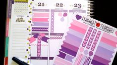 NEW! Pink, Purple, Flags, Drops, Headers, Check Marks, Chevron Stripes, Fits Erin Condren and others, Planner Stickers, Kiss Cut, Planning by LillyTop on Etsy