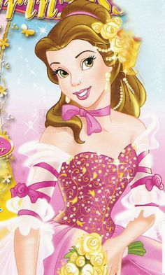 Belle in her new and beautiful pink dress with a bouquet of yellow roses Disney Princess Belle, Princesa Disney Bella, Bella Disney, Disney Amor, All Disney Princesses, Disney Princess Pictures, Disney Princess Drawings, Barbie Princess, Cute Disney
