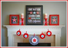 Patriotic Mantel Reveal - Memorial Day or of July Holiday Fun, Holiday Crafts, Holiday Ideas, Festive, Trip Countdown, Independence Day Decoration, Fabulous Four, 4th Of July Decorations, Holiday Decorations