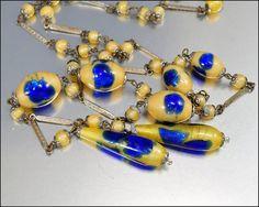 Czech Art Deco Necklace Foil Glass Bead Sautoir Vintage 1920s Art Deco Jewelry via Etsy
