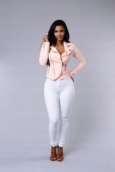 Pink Moto Jacket // Fashion Look by Jodi Sexy Outfits, Cute Outfits, Fashion Outfits, Jean Sexy, Girl Fashion, Womens Fashion, Sexy Jeans, Beautiful Black Women, Swagg