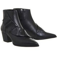 Office Luscious Ruffle Ankle Boots Black Leather ($110) ❤ liked on Polyvore featuring shoes, boots, ankle booties, short leather boots, bootie boots, black booties, black bootie boots and black leather booties