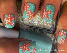 Turquoise nails,  Orange starfish