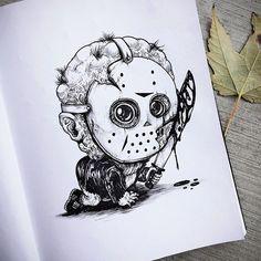 Artista cria ilustrações de personagens de filmes de terror como bebês super fofos (ou não) » MONSTERBOX