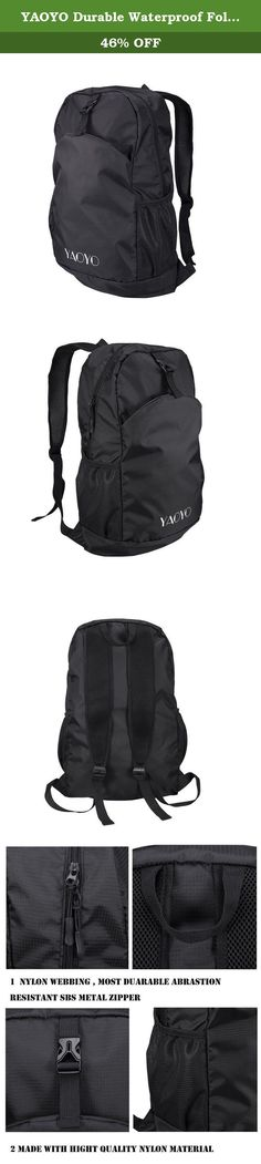 YAOYO Durable Waterproof Foldable Lightweight Nylon Backpack / Daypack for outdoor Camping Hiking (Black, 25L). YAOYO Lightweight Packable Backpack Product Specification: • Material: Water Resistant Nylon Fabric • Gender: Unisex • Weight capacity: 25L/35L 5 Colors for your choice: Black with Grey Zipper, Black with Yellow Zipper, Army Green, Light Green, Blue • Extend Size: Approx 10.5 x 19.5 x 5.9inches (W x H x T) • Folding Size: Approx 9.8 x 8.6 x 1.2inches (W x H x T) • Shoulder Strap...