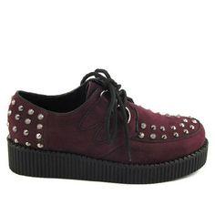 dd2b8bdc697 Ladies Platform Brothel Lace Up Womens Flat Stud Spike Creepers Goth Punk  Shoes