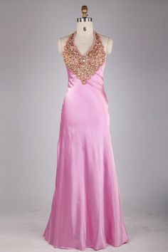 Wholesale Halter Crystal Bodice Open Back A-line Pink Satin Prom Dress JSLD0131