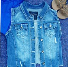 Distressed Denim Jacket Denim jacket - so many different ways to wear this!  Excellent condition - like new maurices  Jackets & Coats Vests