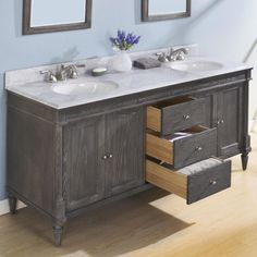 Fairmont Designs Rustic Chic Double Bowl Transitional Vanity in Silvered Oak 72 Bathroom Vanity, Oak Bathroom, Bathroom Ideas, Fairmont Designs, White Washed Oak, Farmhouse Vanity, Contemporary Vanity, Dream Bath